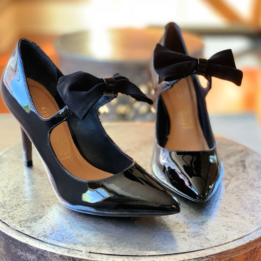 9178b40da Callie Patent Leather Pumps with Bow from Capelli Rossi (Black) at Shoetini
