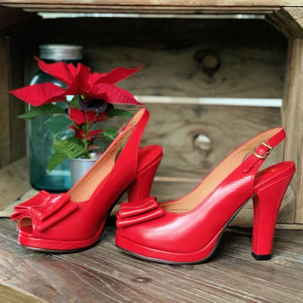 Rita Open Toe Heels From Remix Vintage Shoes Holiday Red At Shoetini